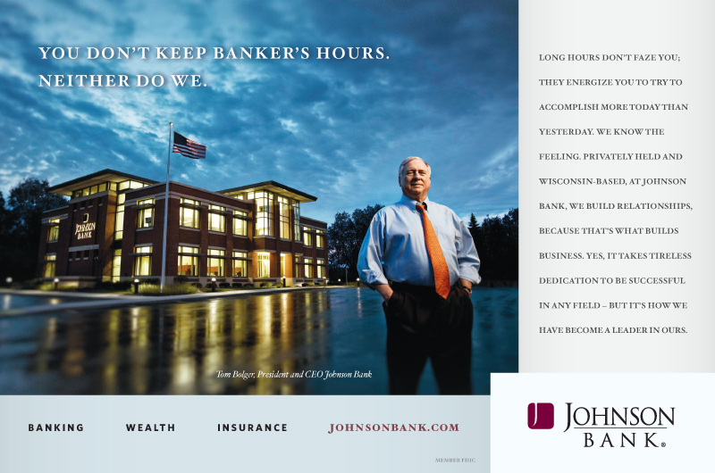 "Johnson Bank ""Banker's Hours""   Print Ad"